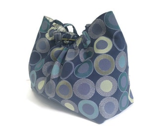 Blue Upholstery Shoulder Bag Knitting Project Tote Fully Lined Decor Fabric Lining One Inside Pocket Loop and Button Closure