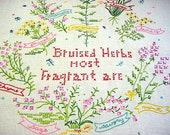 Vintage Embroidered Linen Sampler - Brusied Herbs Most Fragrant Are -Thyme Sage Rosemary Savory Tansy Chives Fennel Mint Marjoram
