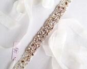 Rose Gold Crystal Bridal Belt- Custom- Swarovski Crystal Bridal Sash- One-of-a-Kind Hand-Beaded -Vintage Glamour