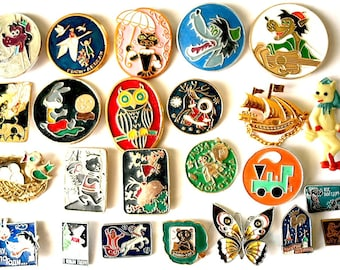 Soviet Vintage Badge Badges Pins Set of 23 Kids Children Cartoon Nu Pogodi Characters from Russia USSR Soviet Union