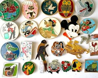 Soviet Vintage Badge Badges Pins Set of 25 Kids Children Cartoon Cheburashka Nu Pogodi Characters from Russia USSR Soviet Union