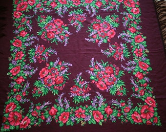 "Russian Shawl Scarf Pink and Green on Dark Purple Wool - 47"" inches - From Russia Soviet Union USSR"