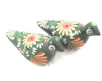 Pair of Painted Birds, Vintage Green Flowered Doves Figurines (E2)