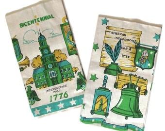Bicentennial Tea Towels, Vintage Pair of Linen Towels in Green, Yellow and Aqua (A2)