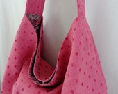 Pink Dots Extra Large Slouchy BAG, Shoulder Purse, Hobo, Boho, Work Purse, Diaper BAG
