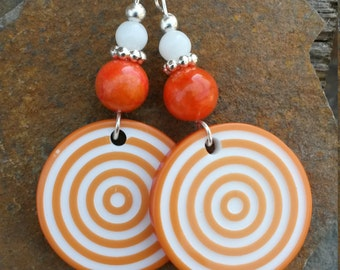 Orange and White Circle Swirl Sterling Silver Earrings, Orange White Circle Earrings, Orange White Swirl Sterling Silver Earrings