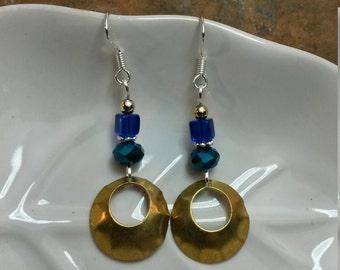 Cobalt Blue Gold Hoops Sterling Silver Earrings, Blue Gold Silver Hoop Earrings, Blue Sterling Silver Hoop Earrings, Gold Hoop Earrings