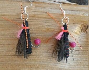 Montana Flyfishing Fly Sterling Silver Earrings, Flyfishing Fly Earrings, Fishing Sterling Silver Earrings