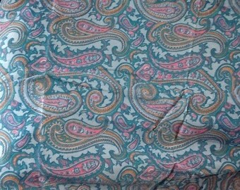 Vintage Paisley Fabric Blue Pink Golden Yellow Cotton Quilting