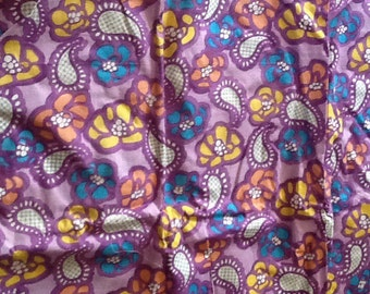 Vintage Paisley Floral Fabric Purple Blue Orange Yellow Cotton Quilting