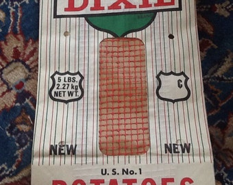 Vintage Potato Sack Bag Paper Alabama Dixie Potatoes Loxley