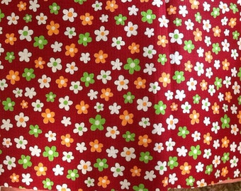 Vintage Retro Mod Daisy Daisies Fabric Lime Orange Burgundy