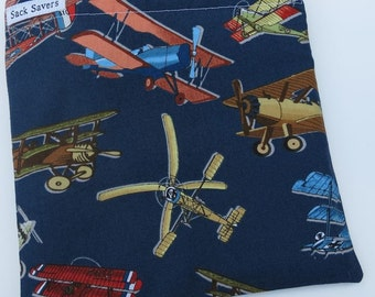 Reusable Sandwich Snack Bag Airplanes Aviation Sack