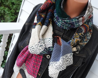 Boho Chic,  Patchwork Scarf,    WINTER SALE  ! ! !    Upcycled, Raw Seams, Gypsy Scarf, Tattered, Rustic Neck Scarf / wrap,Upcycled,  OOAK