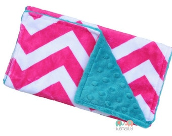 Burp Cloths Hot Pink Chevron on Teal Double Minky Burp Cloth, Baby Shower Gift, Newborn Gift, Feeding, Nursing, New Mom, Essential