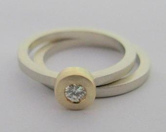 14k white gold wedding band and diamond engagement ring