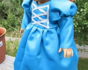 Sparkly Blue Princess Dress for American Girl or 18 inch doll