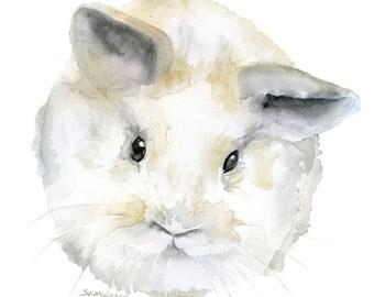 Fluffy Baby Bunny Rabbit Watercolor - 4 x 6 - Giclée Reproduction Fine Art Print Woodland Animal Nursery Decor