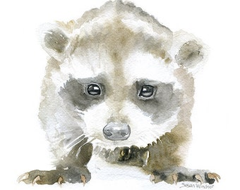 Baby Raccoon Watercolor Painting - 11 x 14 - Giclee Print - Nursery Art