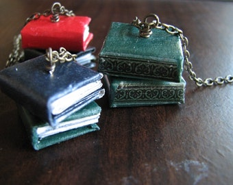 Miniature book necklace | library | stacked | book lover gift | jewelry | worm