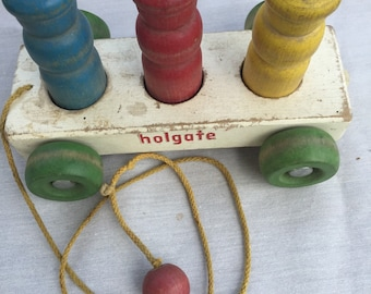 Vintage Holgate Wooden Pull Toy circa 1960