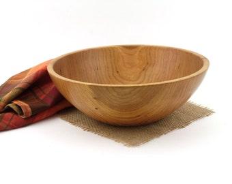"Wooden 11"" Cherry Salad Bowl, Fruit Bowl, Popcorn Bowl"