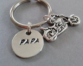 Papa Handstamped Keyring with Motorcycle Accent Charm