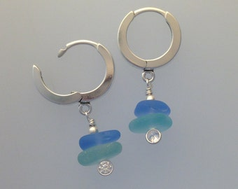 Hoop Earrings with double Stack Sea Glass