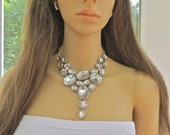 Chunky Rhinestone Necklace, Bridal Wedding Necklace, Retro Style Necklace, Bib Style Necklace, Formal Rhinestone Necklace