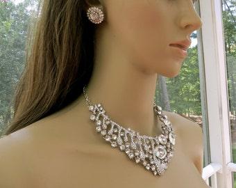 Bridal  Rhinestone Necklace,  Rhinestone Wedding Necklace, Bridal Rhinestone Jewelry, Rhinestone  Wedding Jewelry