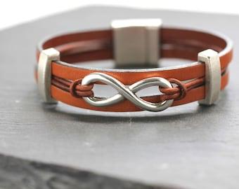 Infinity Bracelet Leather Bangle Minimal Bangle Leather Bracelet  Mens Bracelet Men Jewelry  Gift For Him For Man Under 50 For Boyfriend