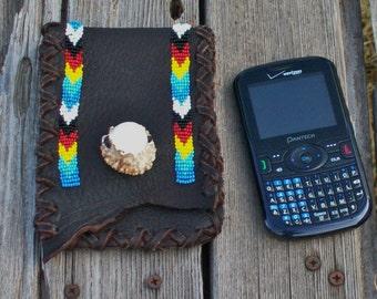 Handmade leather belt bag , Belt bag for phone , Leather hip bag for phone