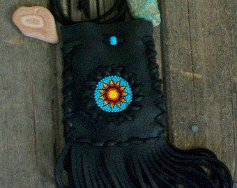 Tribal black leather amulet bag , fringed leather medicine bag , beaded flower  , bohemian leather bag , gypsy style , thunderrose