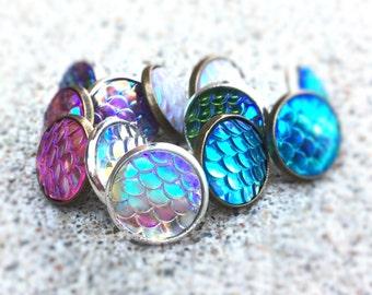 Mermaid Earings - Beach Earrings - Mermaid Jewelry - Beach Stud Earrings - Ocean Jewelry - Womens Teen Gift Under 20 - Iridescent Earrings