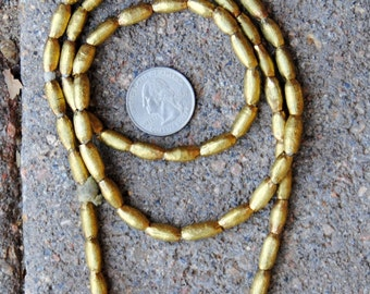 African Brass Beads: 4x12mm