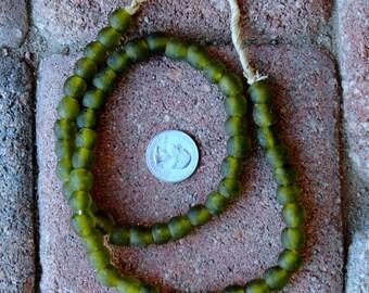 Ghana Glass Beads: Olive Green 9mm