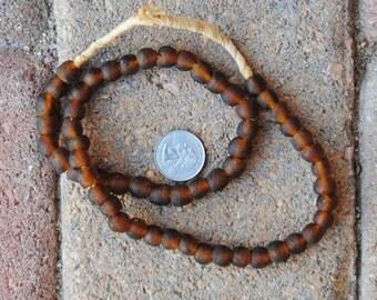 Ghana Glass Beads: Root Beer 9mm