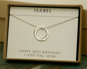 20th birthday gift, 2 sister necklace, friendship necklace, 2 interlocking circles, dainty sterling silver necklace - Lilia