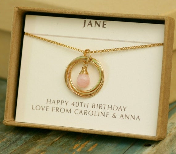 40th Wedding Anniversary Gift Ideas For Friends : 40th birthday gift for her, pink opal jewelry for friends, October ...