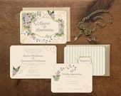 Lavender Wedding Invitation, Art Deco Wedding, Floral Wedding Invitation, Bird Wedding Invitation, Deco Wedding, Spring Wedding, Butterflies