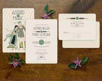 Wedding Invitations, Art Deco Wedding, Wedding Invitation Set, Wedding Invites, Gatsby Wedding, Art Deco Font, Vintage Wedding - Deco Stroll