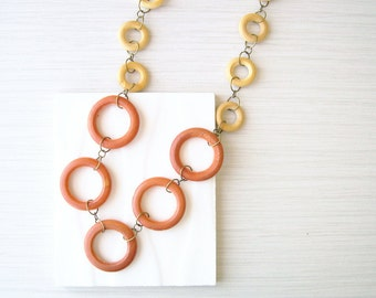 Long Wood Necklace - Anniversary Gift, Boho Jewelry, Fall, Autumn, Geometric, Orange, Blonde, Gold Toned, Antiqued Brass, Bohemian