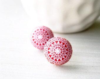 Red Stud Earrings - Nickel Free Jewelry, Valentine's Gift, White, Titanium Posts, Vintage Acrylic
