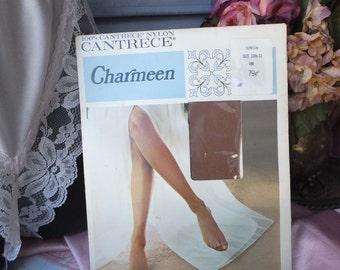Vintage Stockings, Charmeen,  Cantrece, Nylon BURLESQUE Stockings, GARTER Stockings,  size 101/2 - 11, Suntan