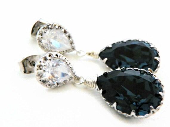 Montana Blue Crystal Earrings: Dark Blue Swarovski Drop, Sterling Silver Post, Cubic Zirconia Bridesmaid Jewellery, Wedding Gift