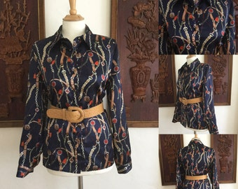 Vintage 80s / Elementz / Long Sleeve / Secretary / Silky / Blouse / Top / Shirt / Medium