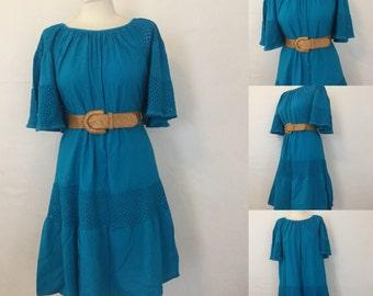 Vintage 70s / Teal / Gauze / Boho / Flutter Sleeve / Day Dress / Medium
