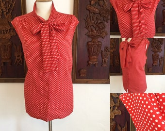 Vintage 60s / Red and White / Polka Dot / Acsot / Bow Tie / Button Up / Secretart Bouse / Top / Shirt / Plus Size / Large