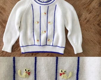 Vintage 50s / Sweater / 2 piece / Overall / Cat / Short Set / Italian / 18 months