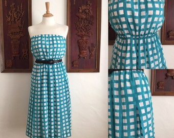 Vintage 80s / Turquoise and White Checkered / Halter Dress